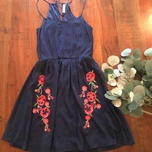 Francesca's Halter Dress in Navy with Embroidery